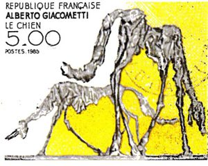 Modern sculpture by Alberto Giacometti (artist of Swiss origin, living in Paris) stamp from 1985